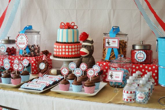 Cake and Canister Labeling Ideas---Sock Monkey DIY Printable Invitation by BelvaJune on Etsy, $9.00