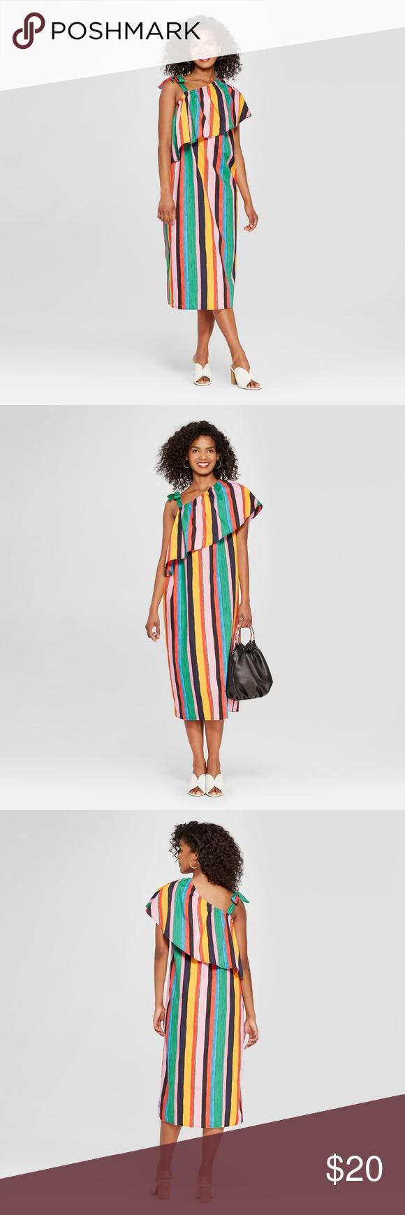 7435a4b80334 Colorful Ruffle Midi Dress - Who What Wear™ Women s Striped Off the Shoulder  Ruffle Midi