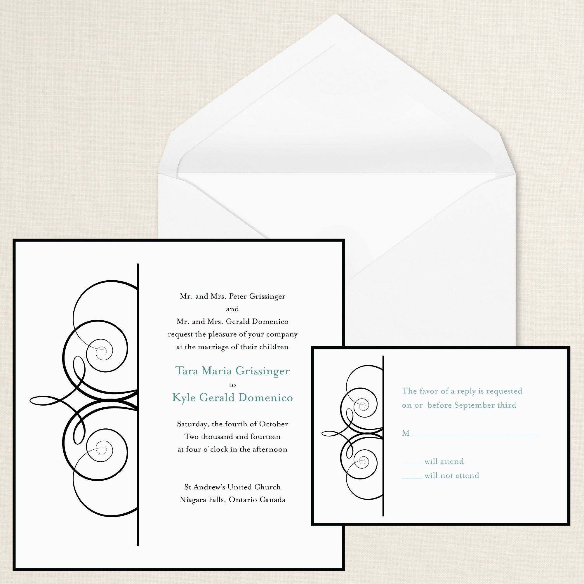 Imperial Scroll Wedding Invitation   #exclusivelyweddings   #blackandwhitewedding