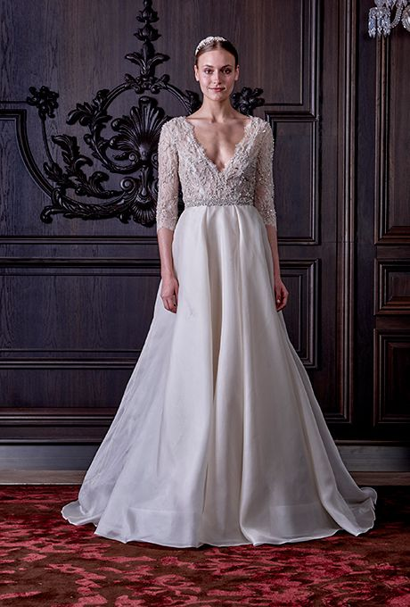 """Brides.com: . """"Cadence"""" 3/4 sleeve sheer embellished Chantilly lace bodice organza ball gown, Monique Lhuillier"""