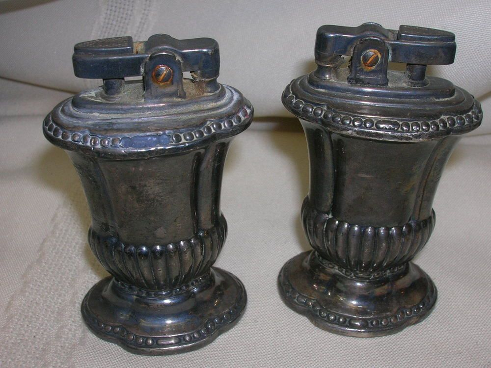 "2 Vintage Ronson Table Lighter ""Newport"" ""Mayfair"" Silver Plate"