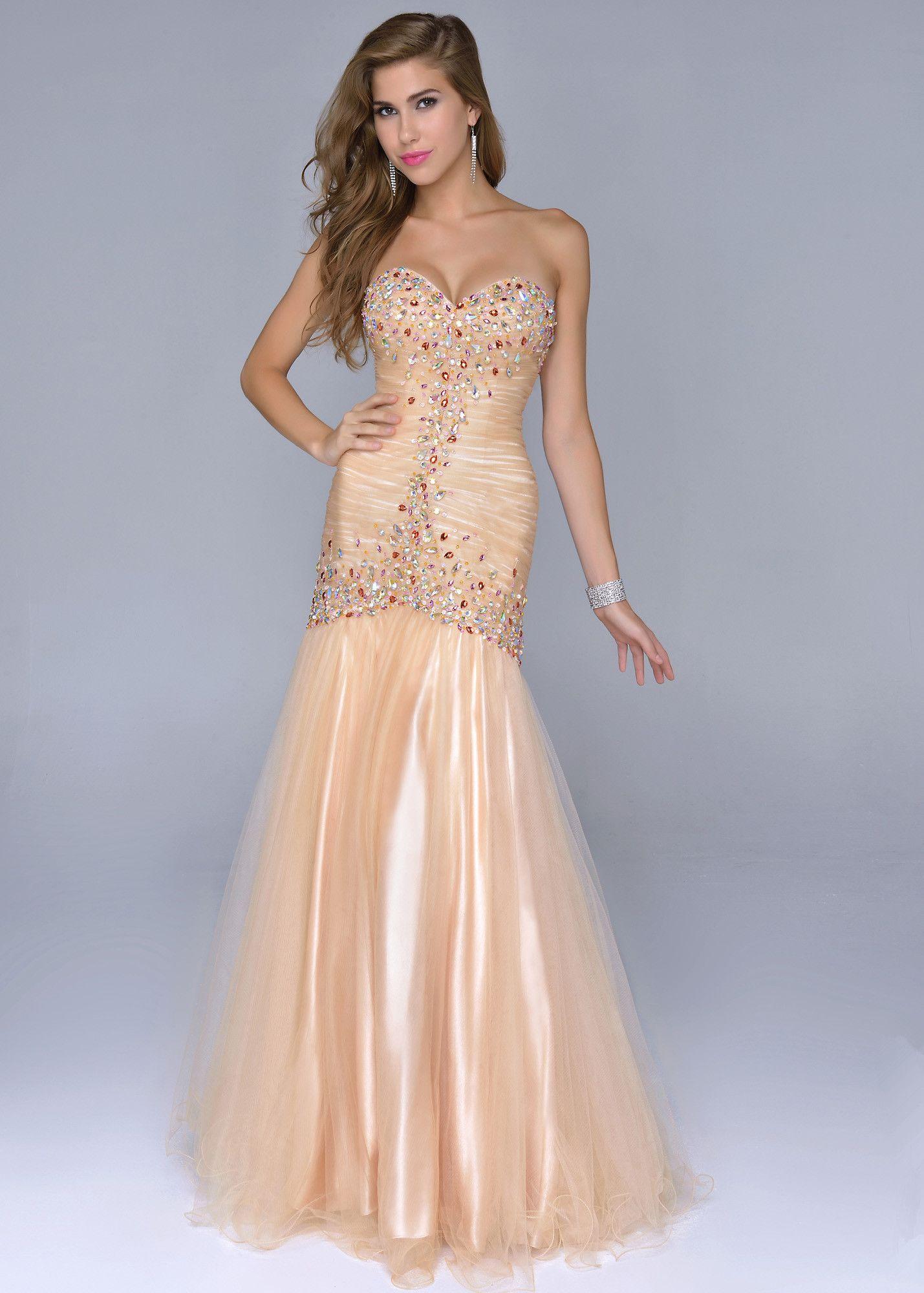 Gold Beaded Cheap Mermaid Style Prom Dresses | Dresses ...