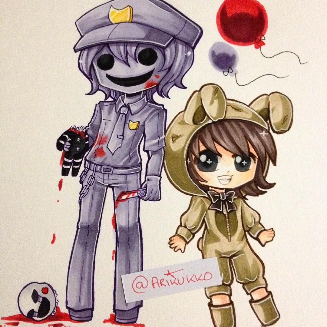 Chibi Of The Purple Guy And A Humanised Plushtrap From