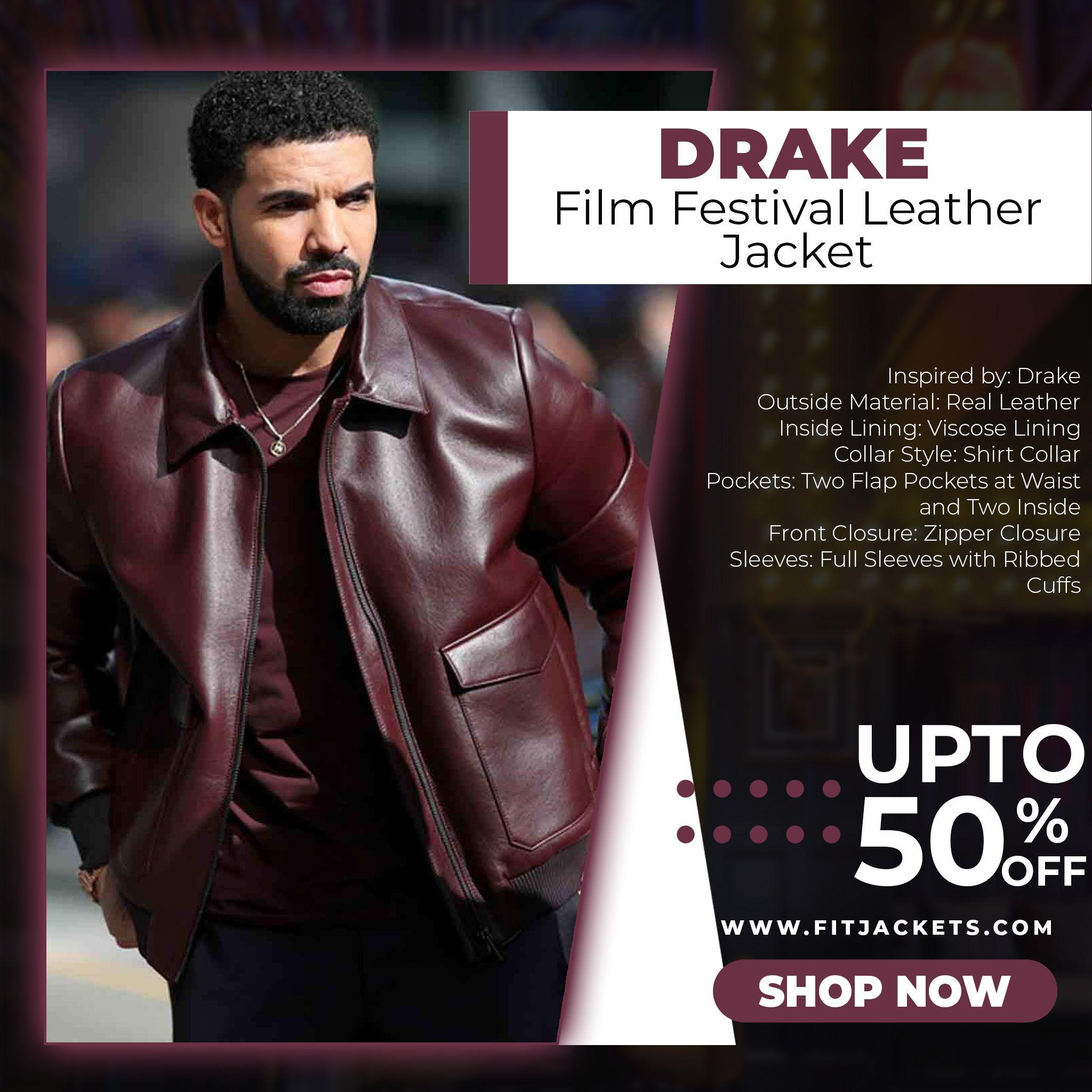 Drake Film Festival Leather Jacket Leather Jacket Outfit Men Burgundy Bomber Jacket Leather Jacket [ 2048 x 2048 Pixel ]