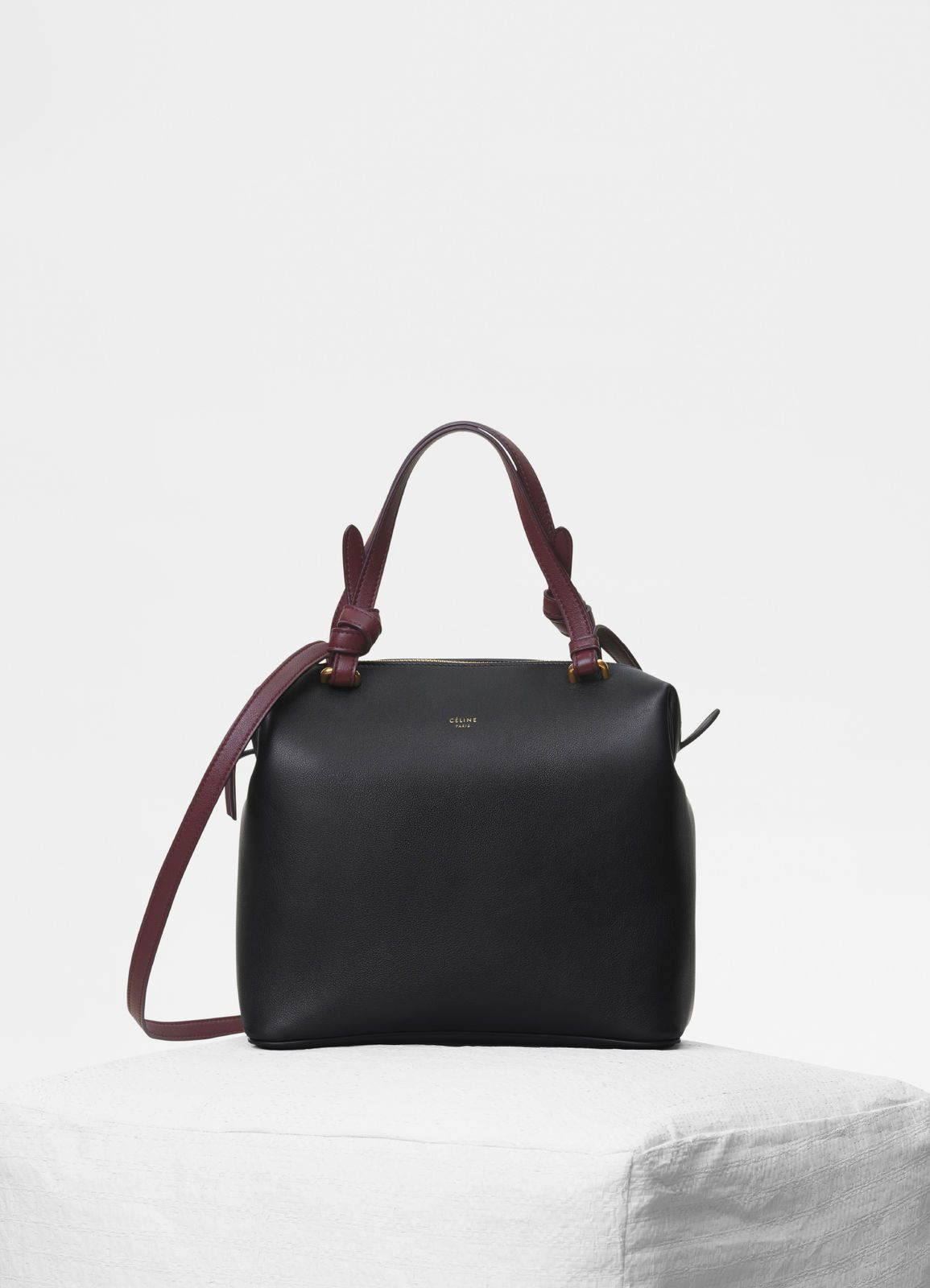 Celine Black Smooth Calfskin Small Soft Cube Bag
