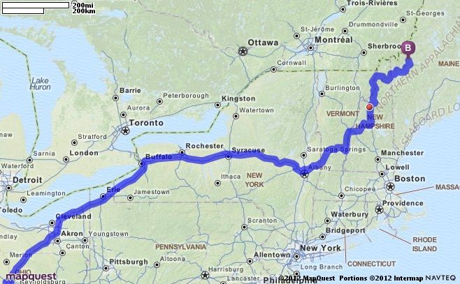 Maine Map Quest.Driving Directions From Springfield Ohio To Eustis Maine