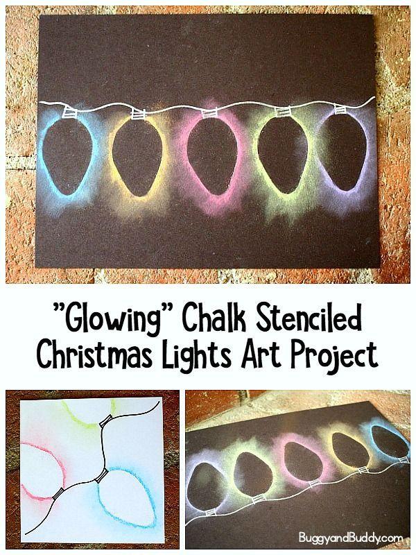 Weihnachtslicht-Kreide-Schablonen-Kunst für Kinder - DIY #holidaycraftschristmas