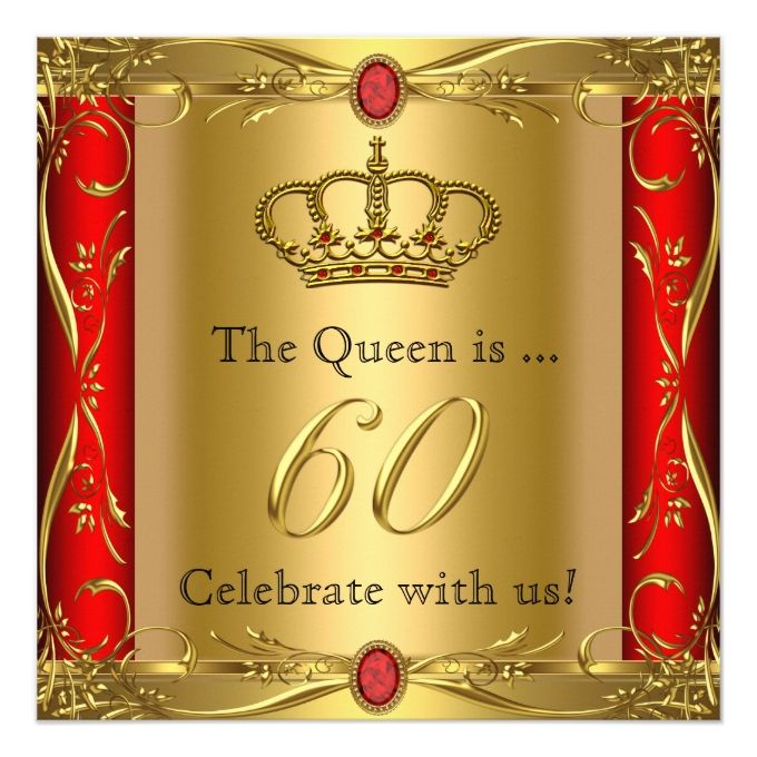 Queen Or King Regal Red Gold Th Birthday Party Card Red Gold - Red and gold birthday invitation templates