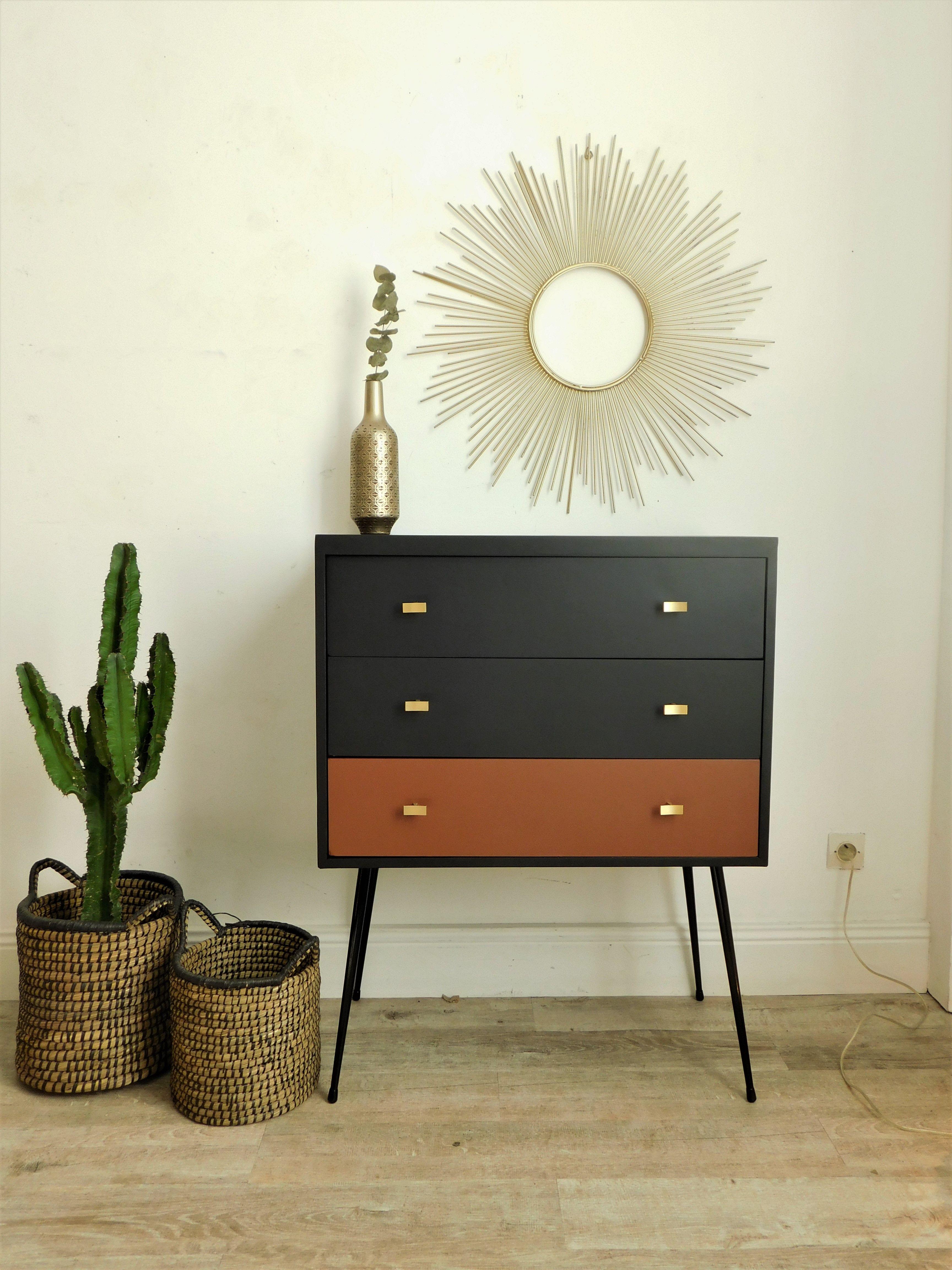 Commode Vintage Snob Noire Et Terracotta Commode Vintage Decoration Ethnique Relooking Meuble