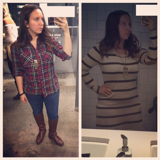 Plaid top from #goldentote and striped sweater dress from Ross.