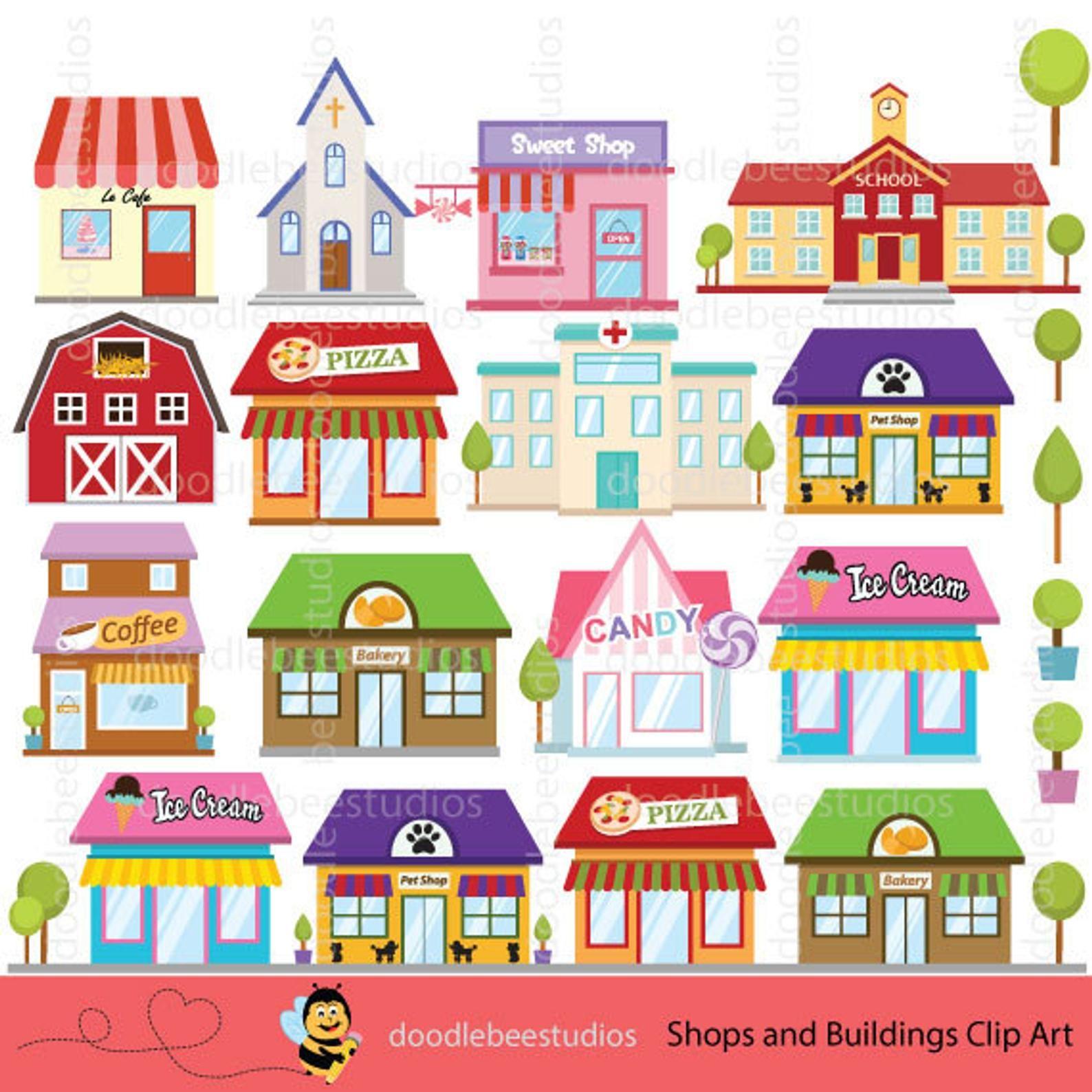 Shops Clipart Buildings Clipart Shop Clipart Building Clip Etsy Shopping Clipart Clip Art House Clipart