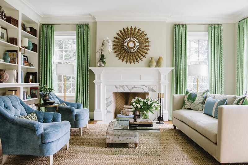 Green And Blur Living Room House And Home Magazine Southern Living Rooms Southern Homes