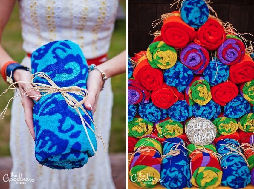 For a beach wedding: beach towels as favors | The Goodness: cute ...