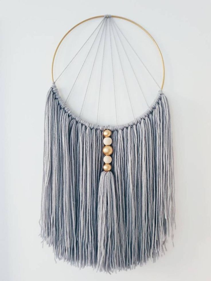 Photo of Gray macrame wall hanging – home accessory with natural wooden beads and handmade tassel … – My Blog