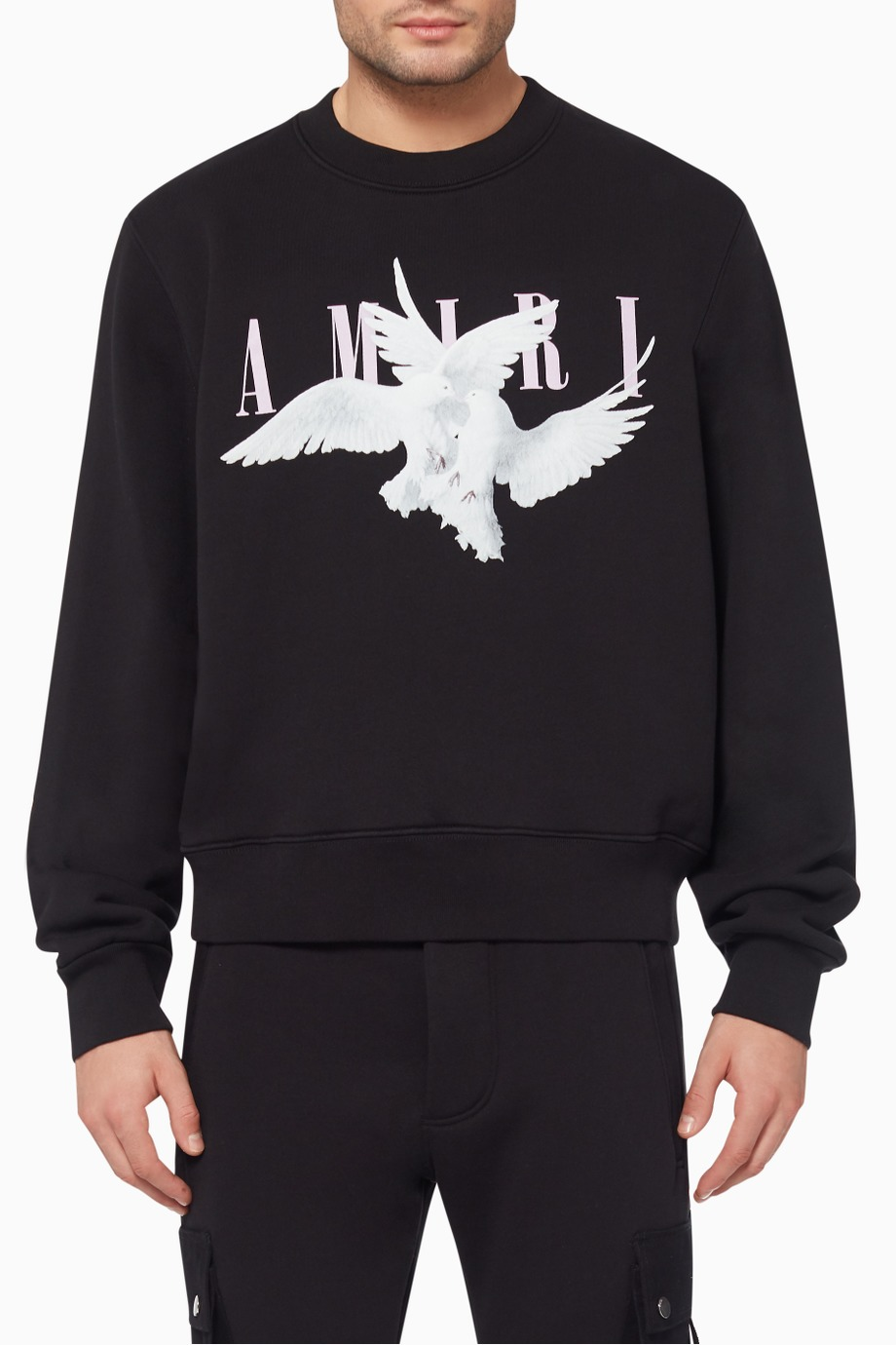 Shop Amiri Black Dual Doves Crewneck Sweatshirt For Men Ounass Uae Sweatshirts Crew Neck Sweatshirt Luxury Brands Fashion [ 1380 x 920 Pixel ]