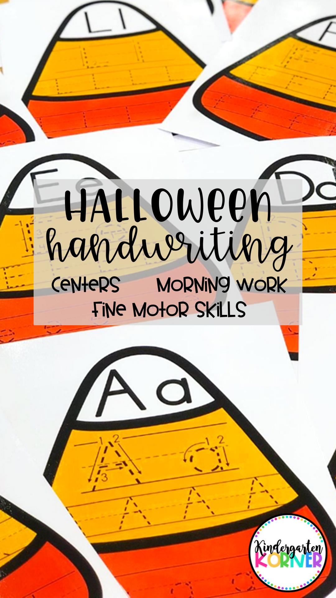 Halloween Writing Center Alphabet Tracing Mats