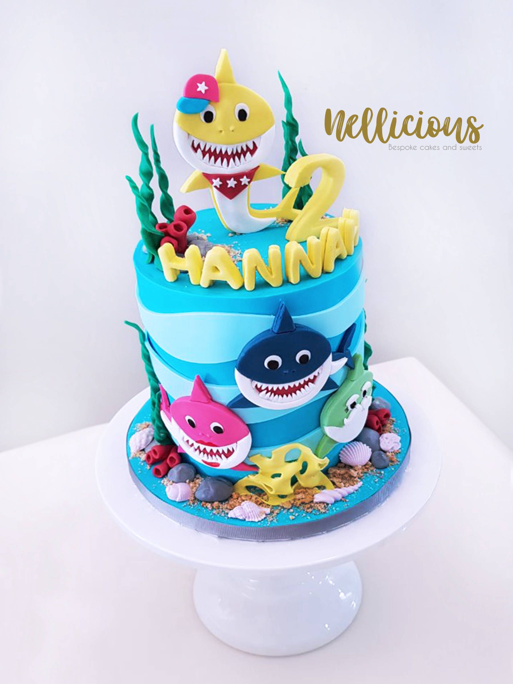 Baby Shark 2d Fondant Cake With Images Shark Birthday Cakes