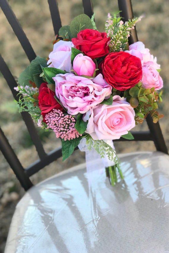 ARTIFICIAL BRIDAL BOUQUET, Wedding flowers, pink and red flowers, brides bouquet, spring wedding, br