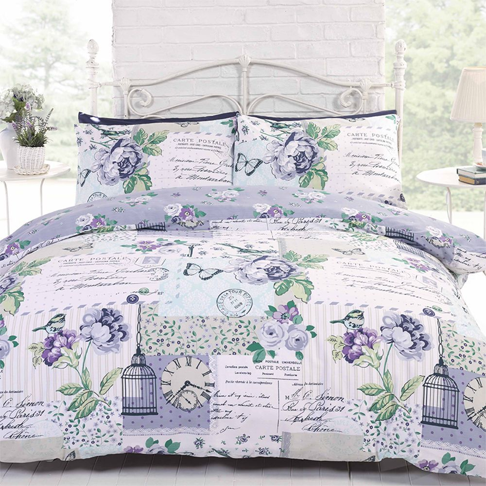 birdcage patchwork script butterfly chic bird cage quilt duvet cover bedding set