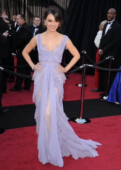 August cover girl Mila Kunis was lovely in lavender by Elie Saab at the 2012 Academy Awards.