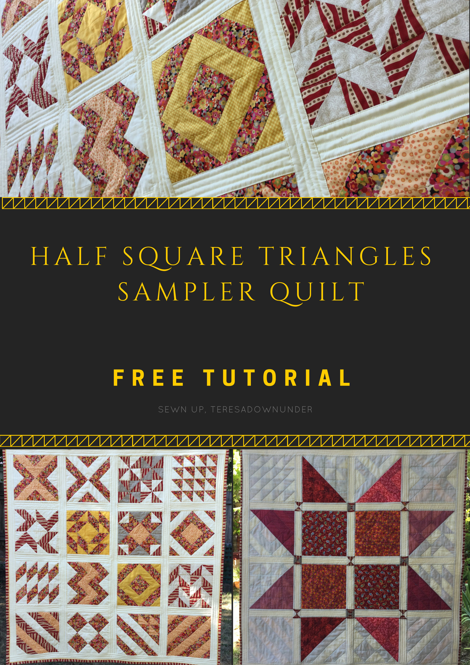 16 Half Square Triangles (HST) sampler quilt – free pattern   Half ... : quilting triangles tips - Adamdwight.com