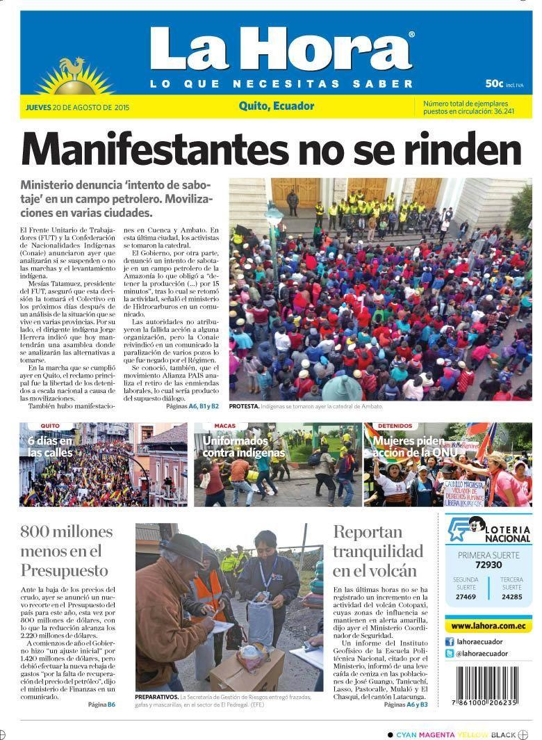 """Acá nuestra portada de hoy, 20 de agosto del 2015. Tema destacado: """" Manifestaciones no se rinden""""."""