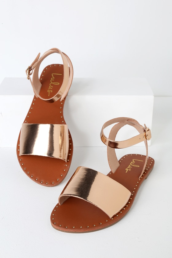 Leeah Rose Gold Studded Flat Ankle Strap Sandals | Ankle