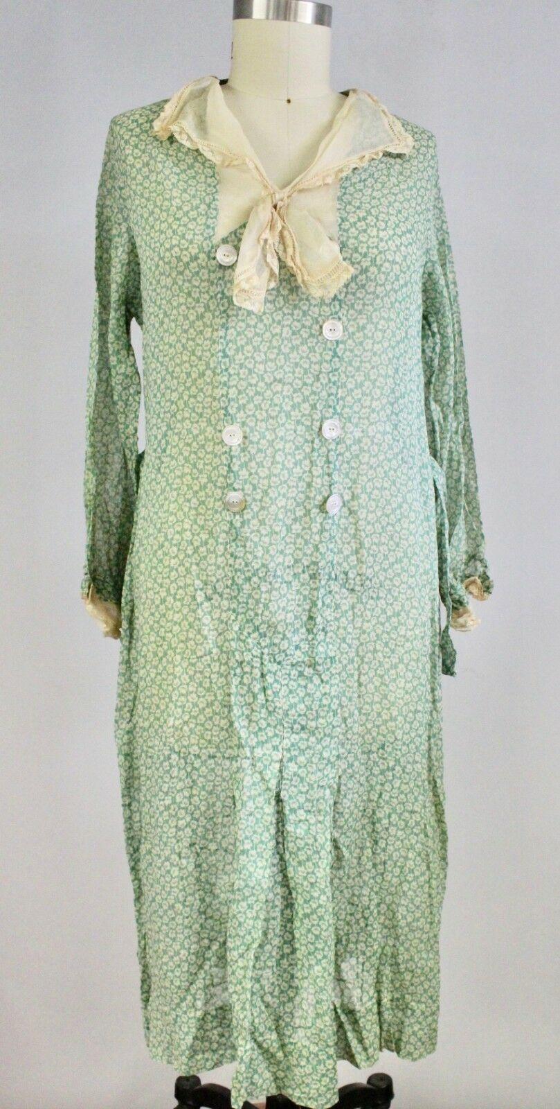 1920s Cotton Gauze House Dress Green Print M L Antique Vintage L Aiglon Ebay Evening Dresses Vintage Blouse Victorian Style House Dress [ 1600 x 809 Pixel ]