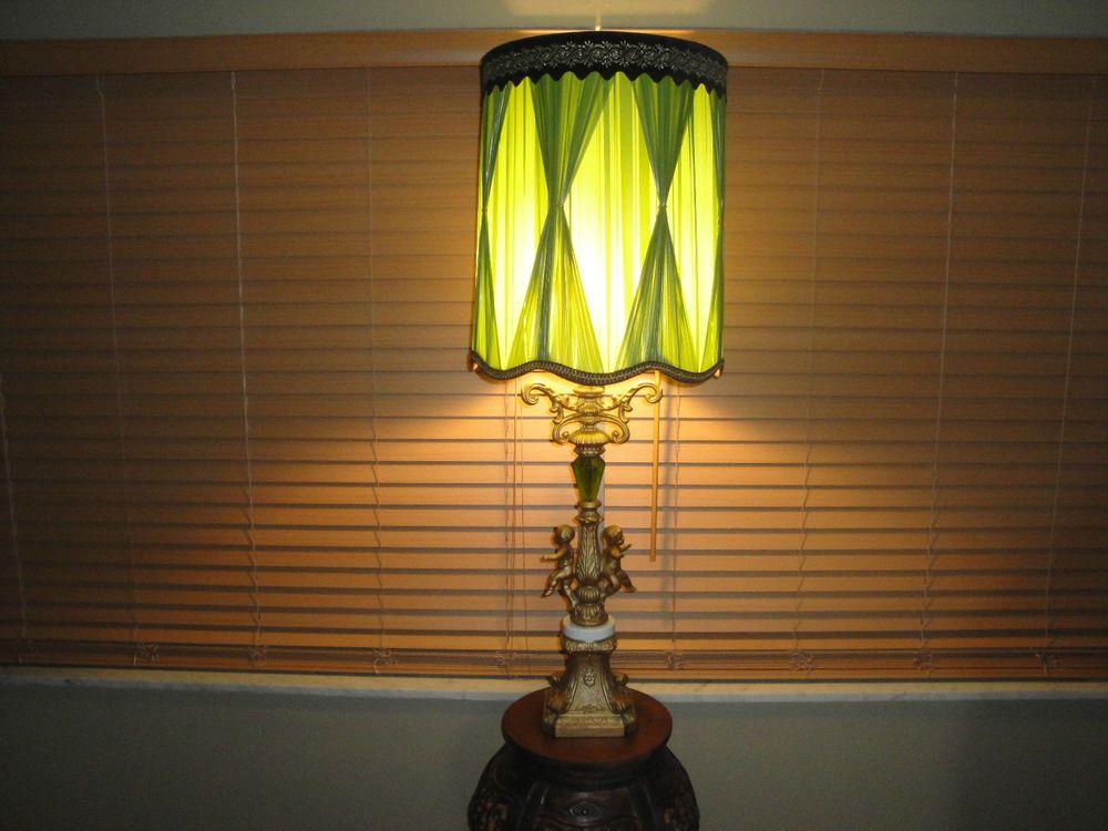 Vintage 1960s green brass metal cherub lamp original shade 43 tall