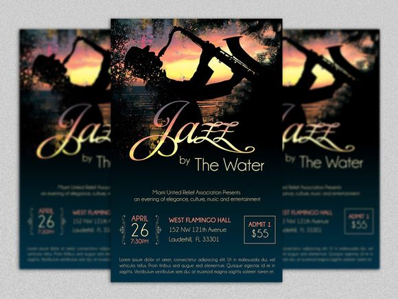 Jazz Concert Flyer Template By Godserv Marketplace On Creative   Funeral  Poster Templates  Funeral Poster Templates