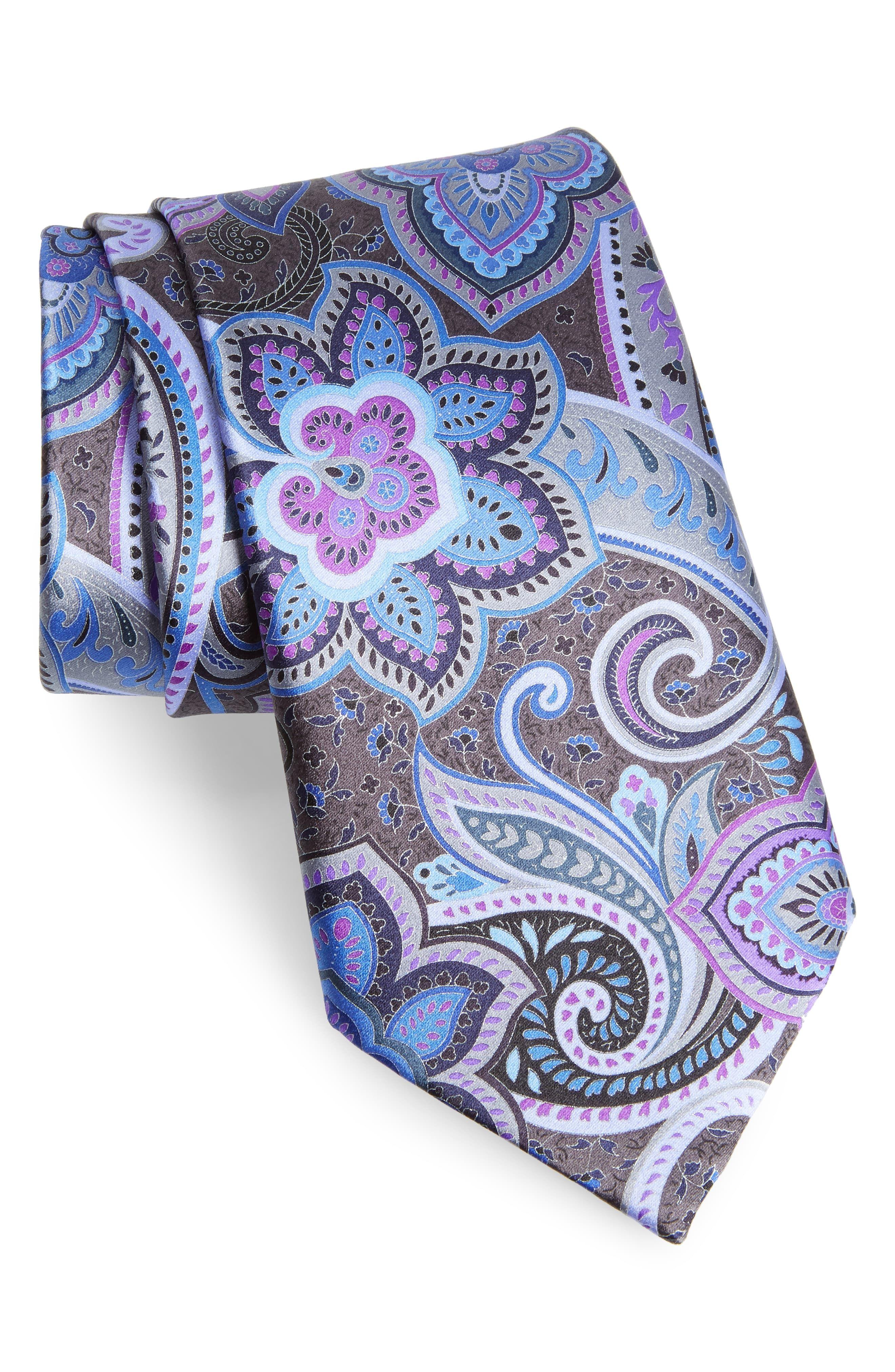 fb5e9d40 Men's Ermenegildo Zegna Quindici Floral Paisley Silk Tie, Size ...