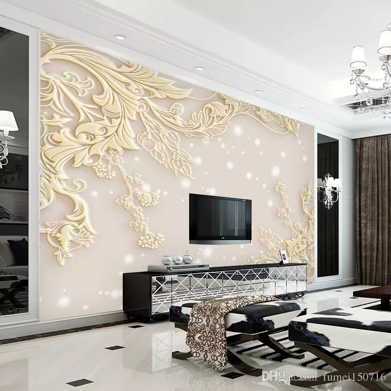 3d Stereo Luxurious Embossed Wallpaper Large Wall Painting Living Room Bedroom Video Background Wallpaper Tv Wallpaper From Fumei150716 21 36 Dhgate Com Wall Painting Living Room Living Room Paint Wall Accessories