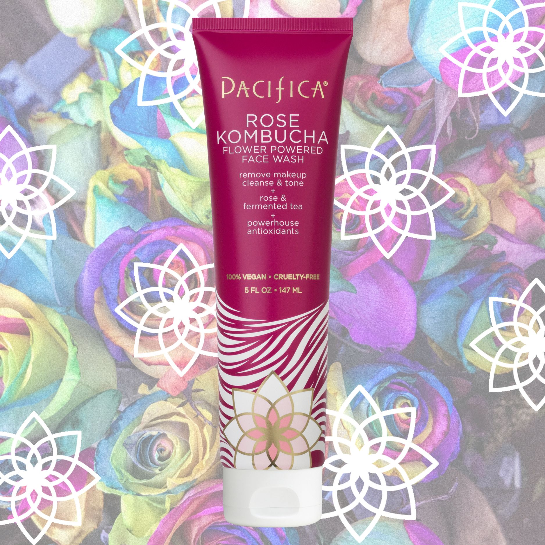 Pacifica Rose Kombucha Flower Powered Face Wash 5 fl oz