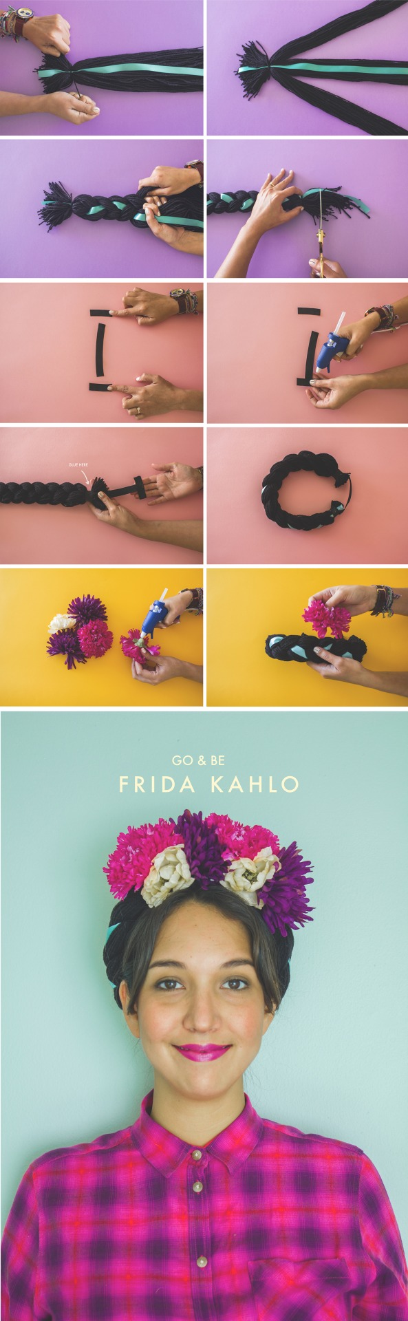 Most of the people who knows me, they know I love Frida Kahlo. I was inspired by her to make this braided headpiece, she used to always do this back in the days, it was her signature look! It's 10 easy steps to follow, hope you have fun making this craft, you can choose different colors for the flowers or the ribbon, be creative!! The Velvet Mode.
