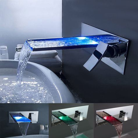 Waterfall LED Spout Brass Bathroom Basin Tub Shower Faucet Wall Mount Sink Mixer