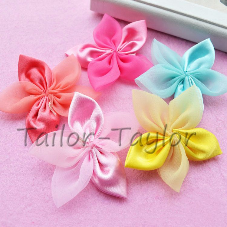 Quality Satin Ribbon Poinsettias Flowers 4cm Mixed Colours Sewing Crafts Cards