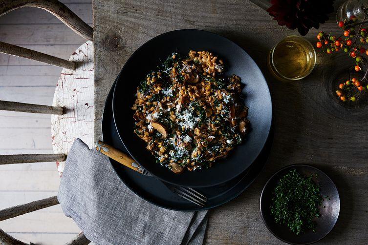 Double Mushroom & Kale Farro recipe on Food52