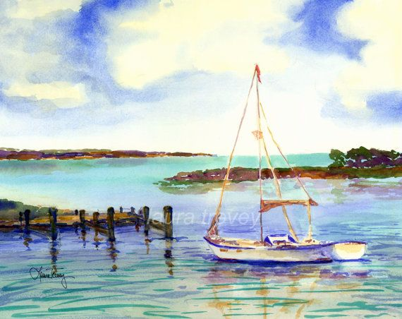 Sailing Watercolor Print Painting Prints Art Affordable Wall Art