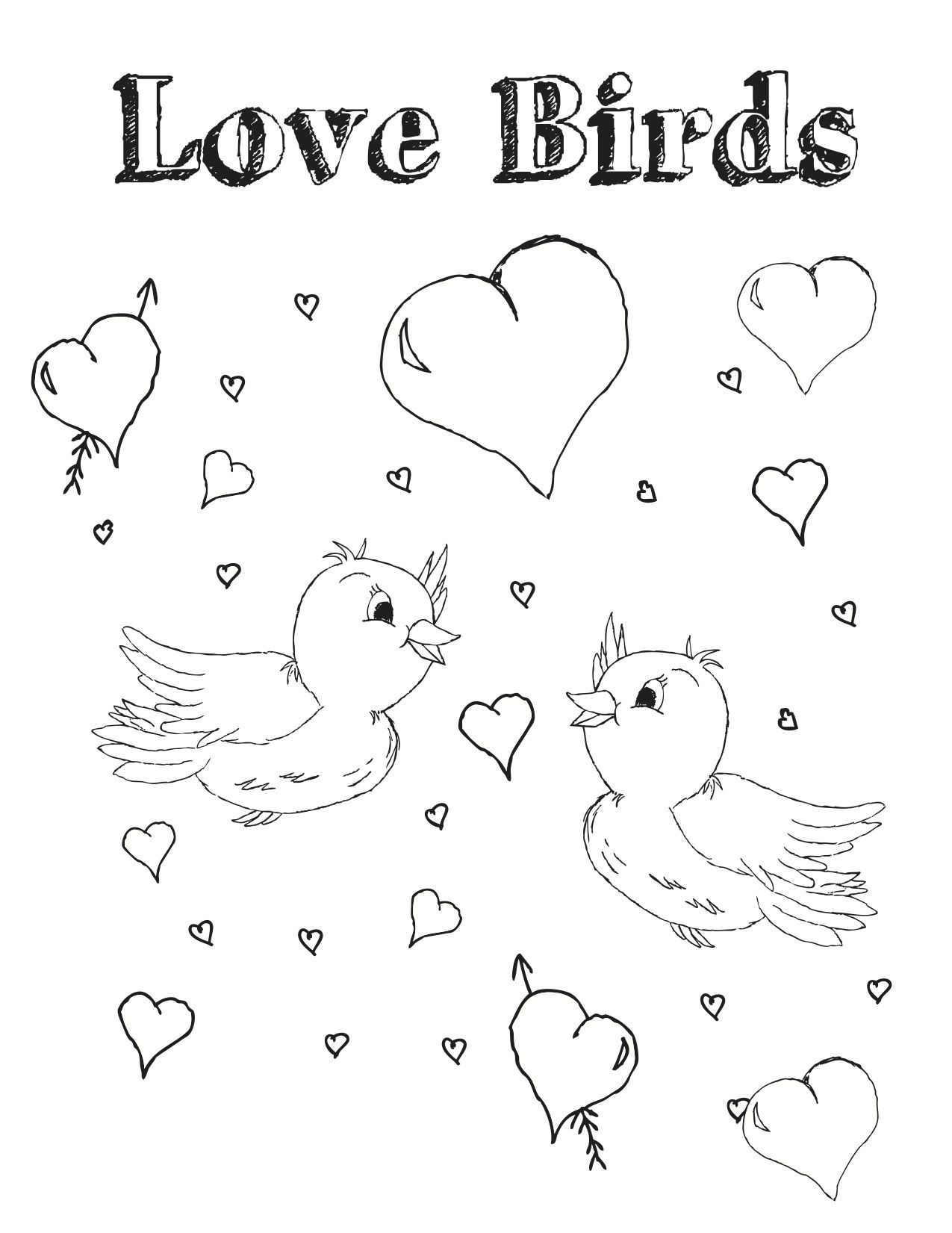 Love Birds   Valentines Day Coloring   Pinterest
