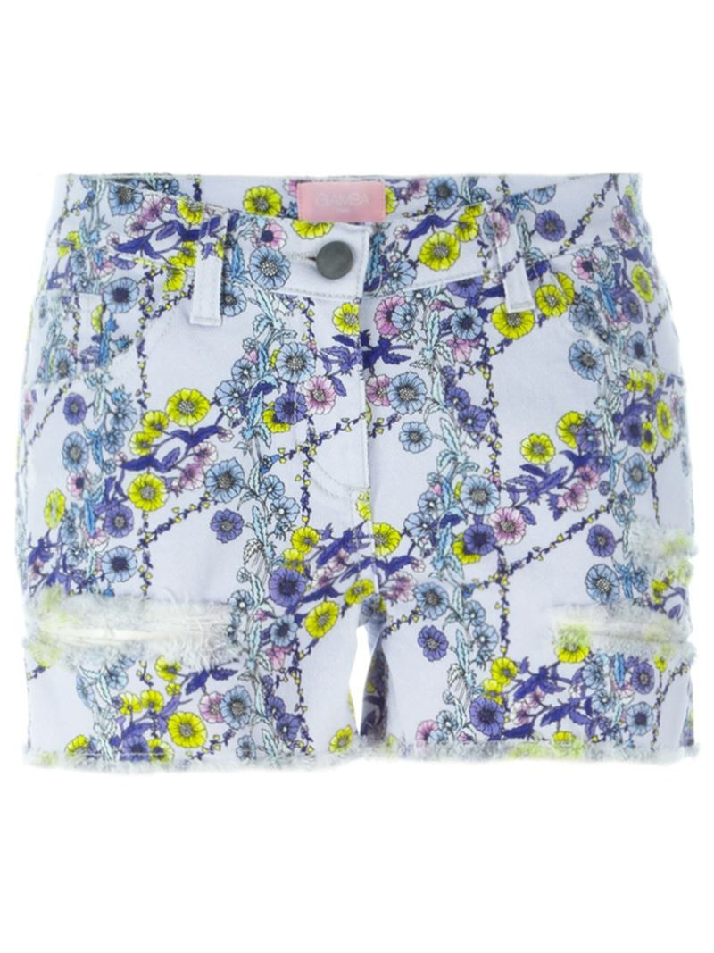 Giamba floral print denim shorts