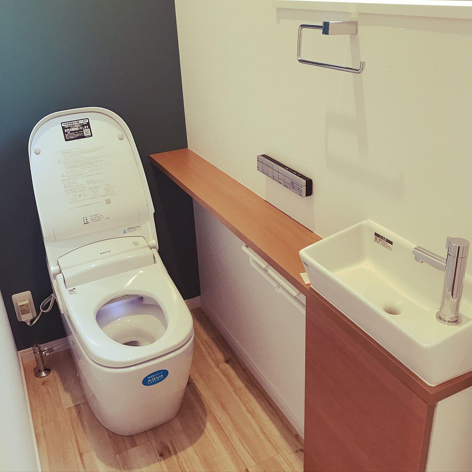 バス トイレ タンクレストイレ クッションフロア 床 サティスg リクシルのトイレのインテリア実例 2017 10 16 22 43 46 Roomclip ルームクリップ 画像あり タンクレストイレ トイレ クッションフロア トイレ