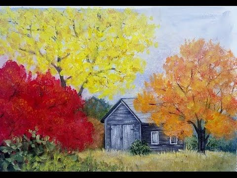 Easy Autumn Tree Landscape With Barn Acrylic Painting Tutorial For
