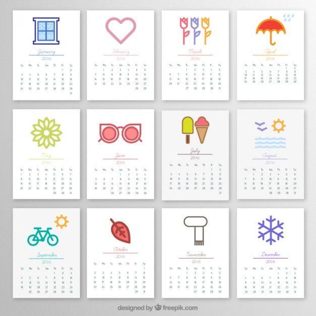 2016 calendário mensal com ícones Bullet, Planners and Journal - birthday calendar template