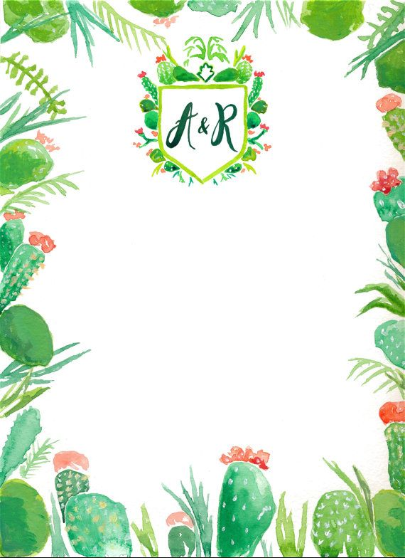 Custom Watercolor Wedding Invitation Border Design, Cacti ...