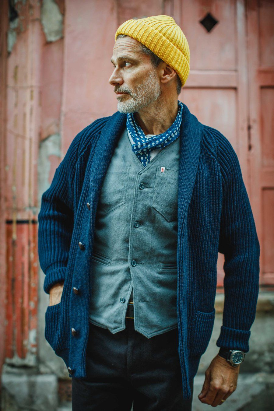 Photo of & SONS Pioneer British Wool Cardigan Navy