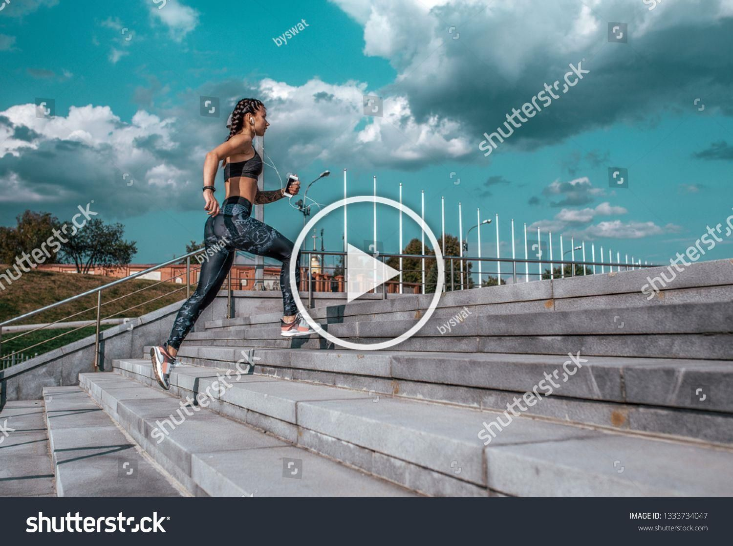 Young athletic girl running morning for jog fitness