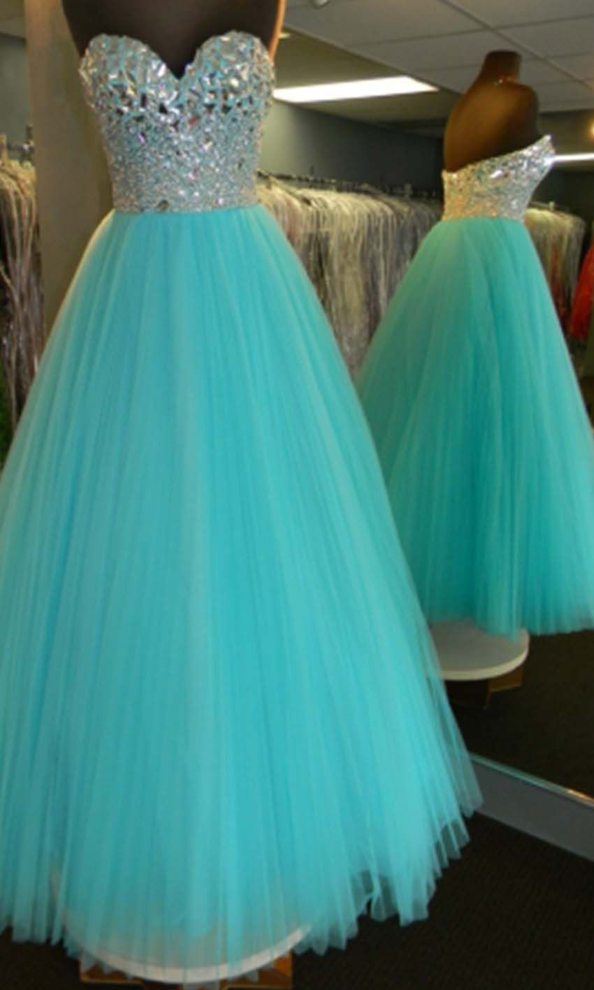 rhinestone and tulle prom dress