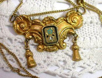 Antique 19c 18K Enamel Lavalier Pendant & Chain