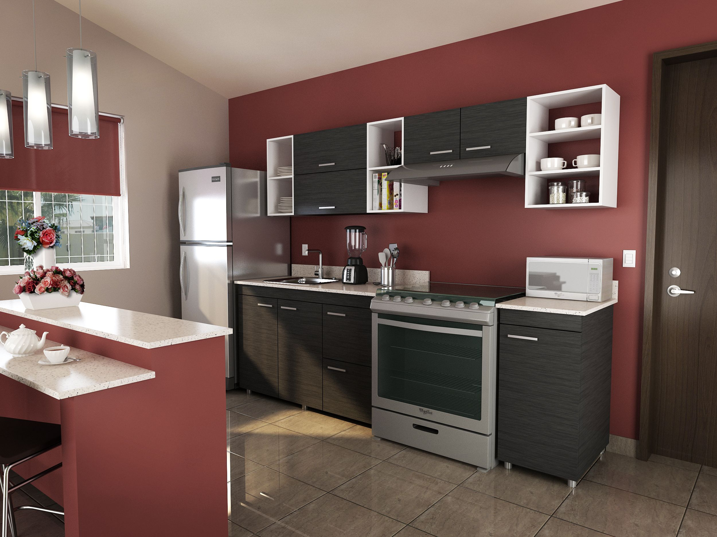 Gabinetes de cocina de todas las ideas - Renueva Tu Cocina Con Gabinetes Color Gris Y Combina Con Un Tono Terracota En Las Paredes