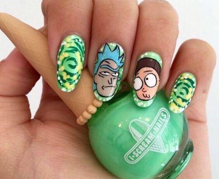 Rick and Morty nail art   Nails   Pinterest   Uña decoradas y Tatuajes